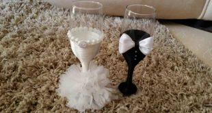 صورة تزيين كاسات العرسان , اشيك كاسات العرس