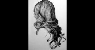 صورة رسم الشعر بالرصاص , كيفية رسم الشعر بالرصاص خطوة بخطوة